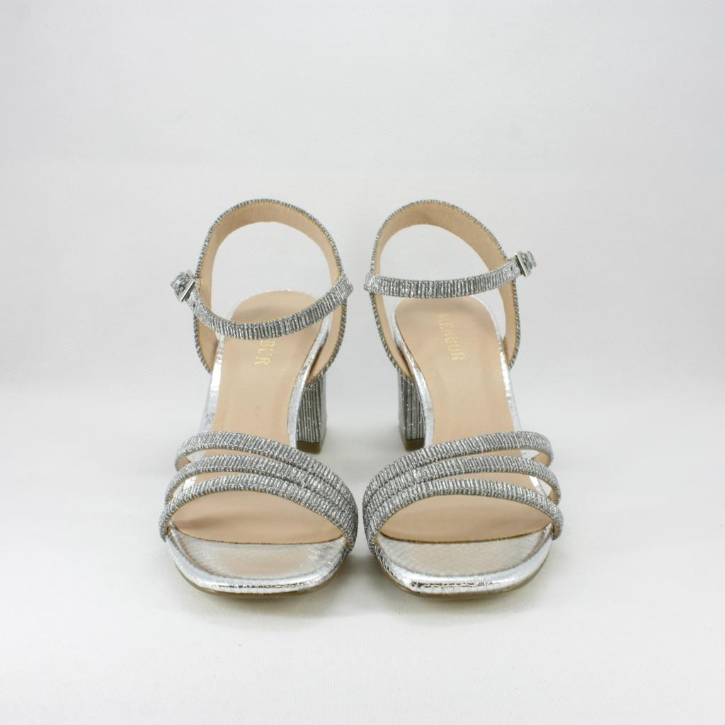 Sandalo cerimonia donna con tacco largo color argento/piombo