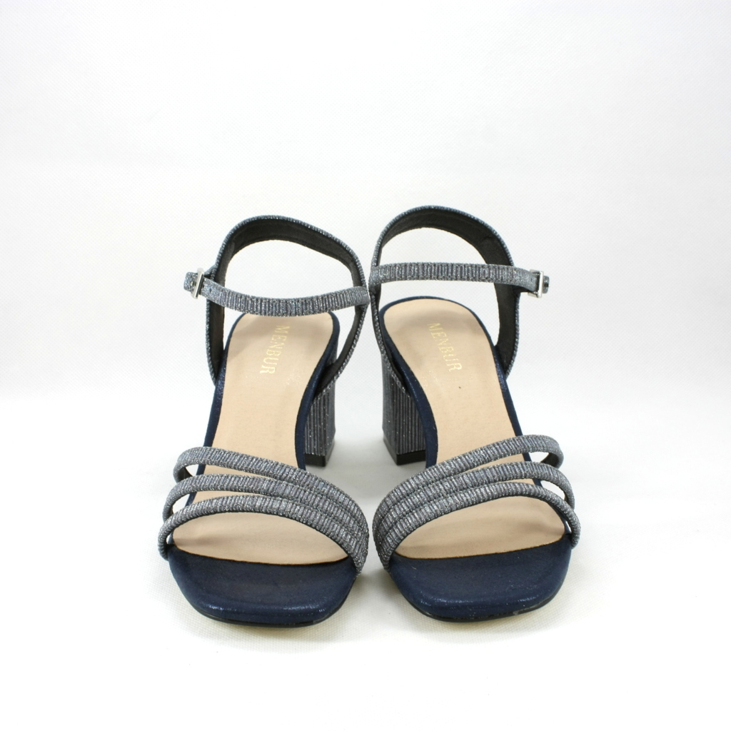 Sandalo cerimonia donna con tacco largo color blu argentato.