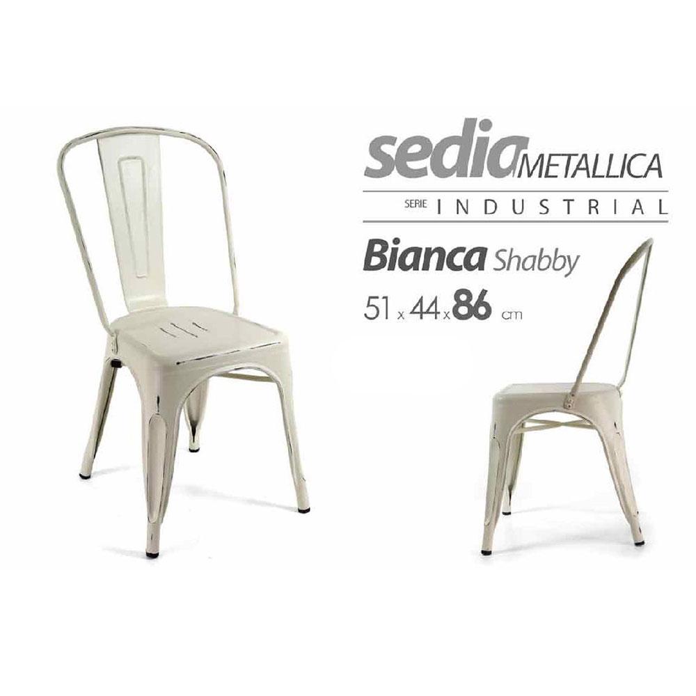 Gicos Sedia Metallica Bianco Vintage Matt.
