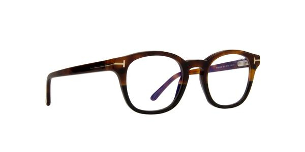Tom Ford - Occhiale da Vista Uomo con Clip On da Sole, Matte Havana/ Dark Blue Shaded FT5532-B  56V  C49