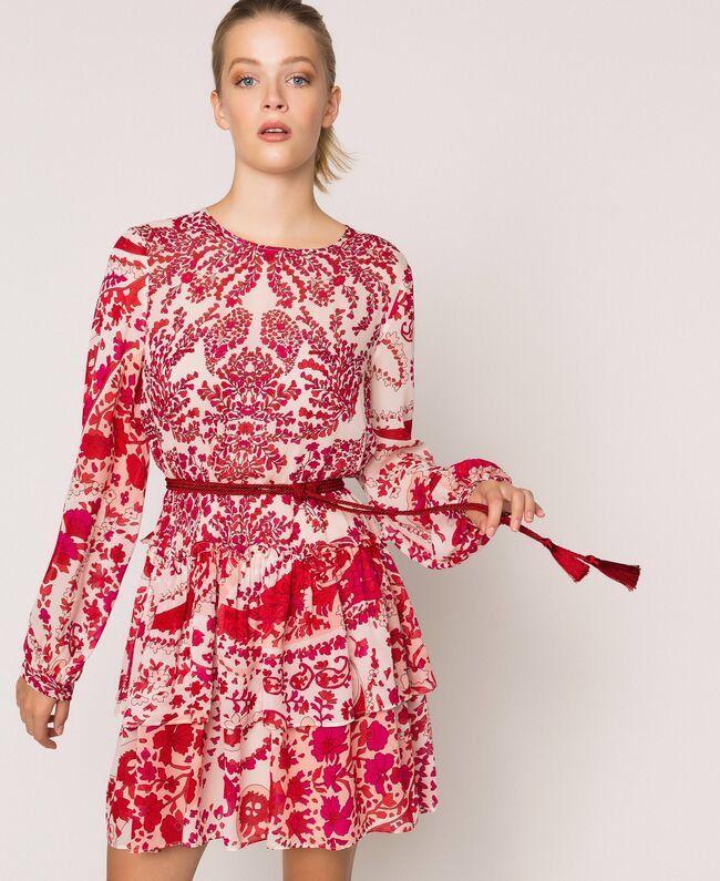 SHOPPING ON LINE TWINSET MILANO ABITO  IN GEORGETTE DI VISCOSA NEW COLLECTION  WOMEN'S SPRING SUMMER 2020