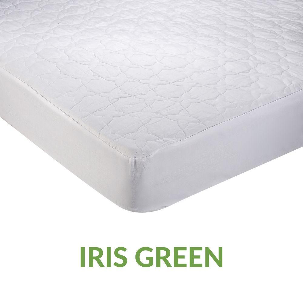 Coprimaterasso 100% Cotone Naturale, adatto a tutte le Stagioni e con Tessuto Traspirante | IRIS GREEN