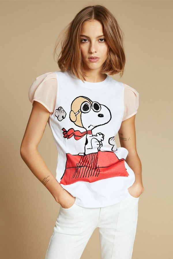 SHOPPING ON LINE ANIEY BY T-SHIRT SNOOPY CON MANICHE IN GEORGETTE  NEW COLLECTION WOMEN'S SPRING SUMMER 2020