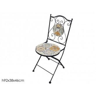 Sedia Tonda Per Esterno ed Interno Decorata con Ferro Nero e Dettaglio Colorato Stile Barocco Esterno ed Interno Casa