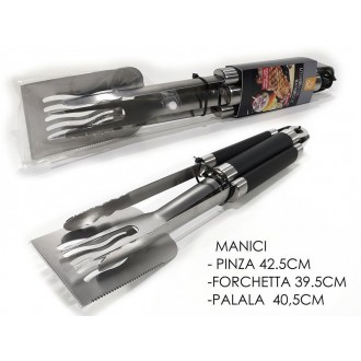 General Trade Set BBQ 3 Pezzi con manico Nero