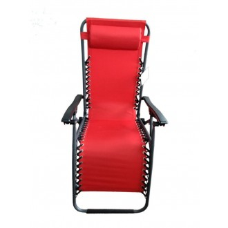 Sedia A Sdraio Relax Colore Rosso Struttura in Metallo Nero Casa Giardino Con Poggia Testa Comoda Confortevole Casa