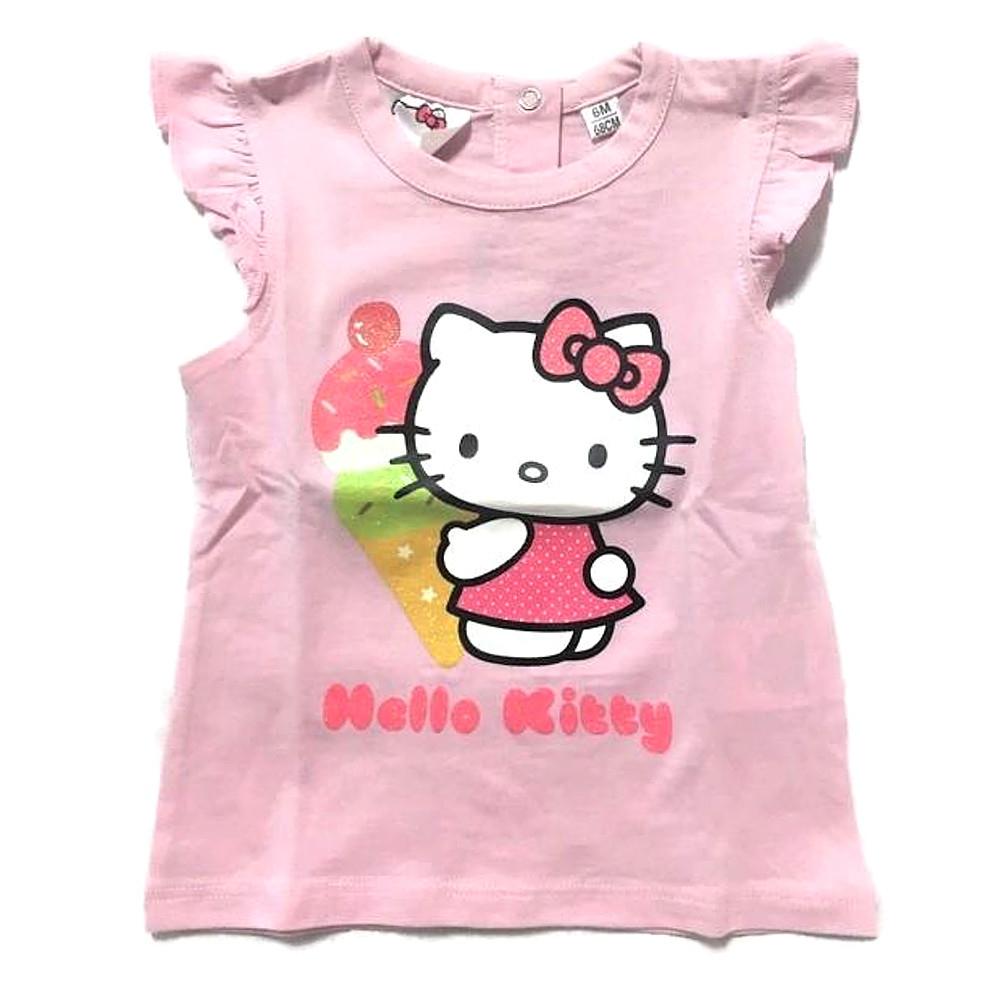 Maglietta 6 mesi Hello Kitty manica corta neonata rosa