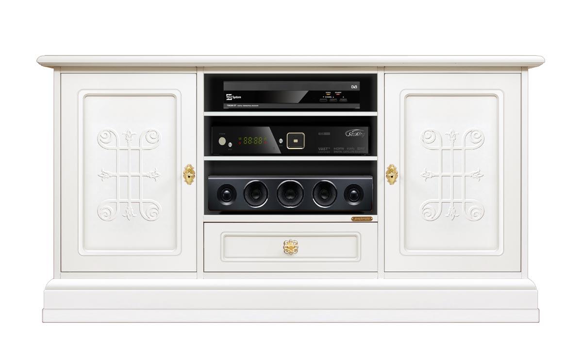 Mueble tv largo laqueado blanco Aria