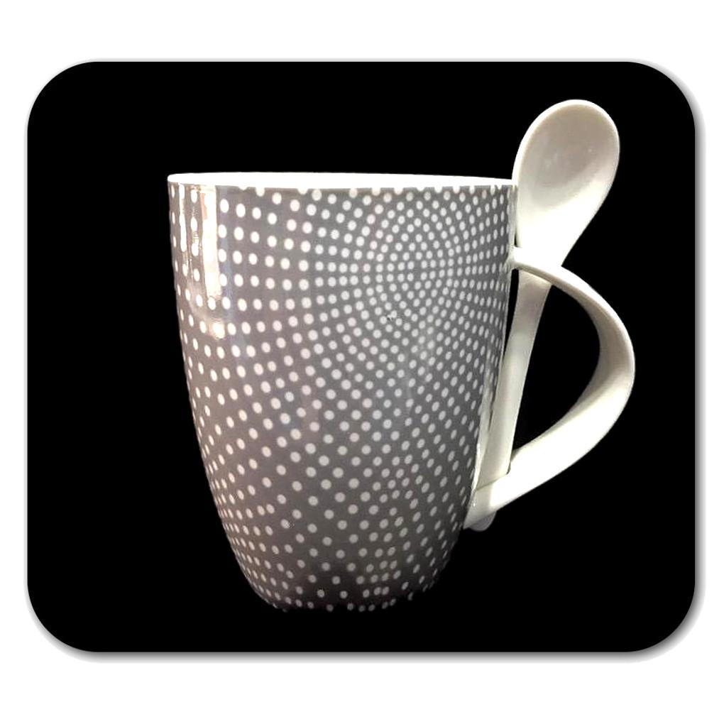 Tazza bianca a pois grigi e cucchiaino in ceramica