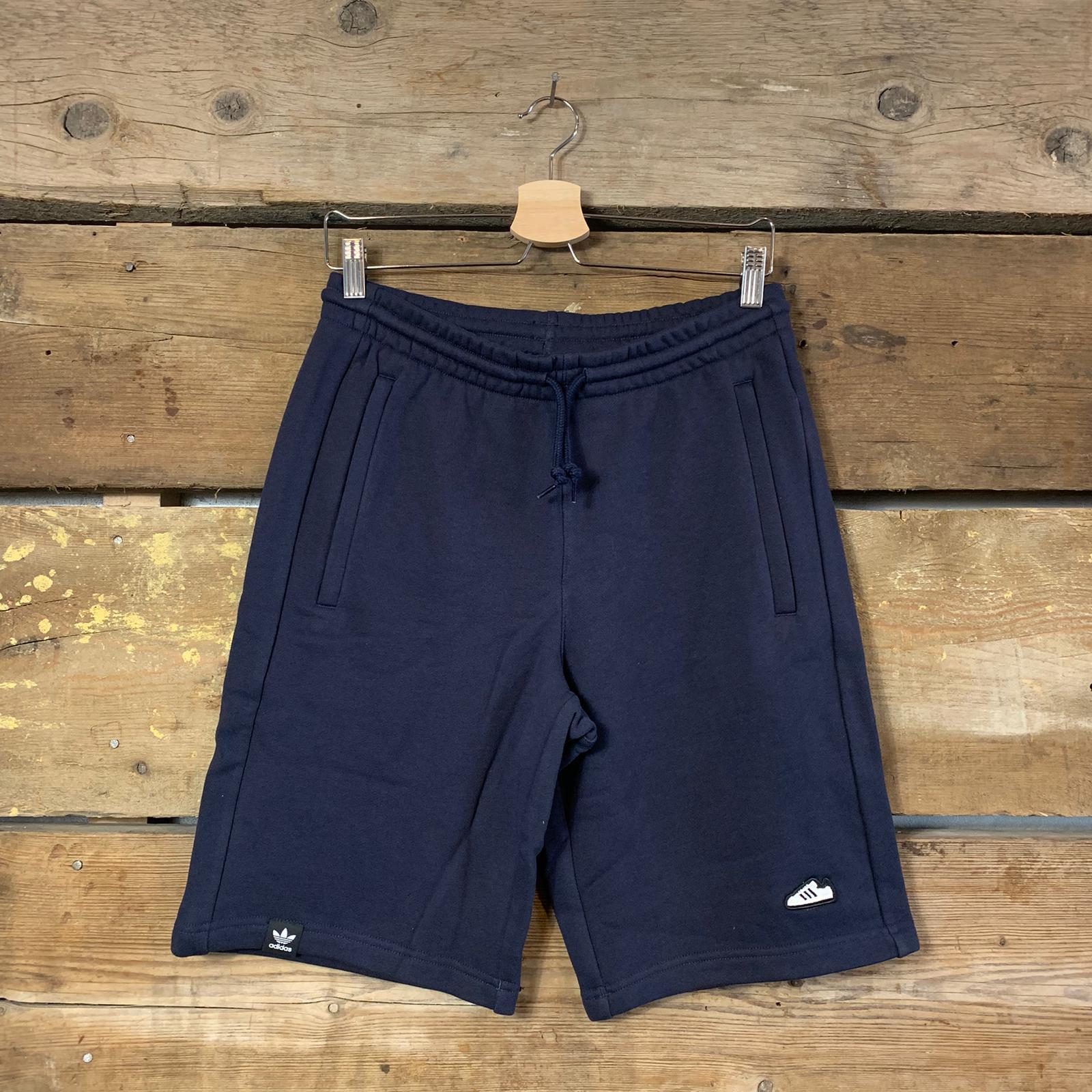 Pantaloncino Adidas in Cotone Garzato Blu Navy