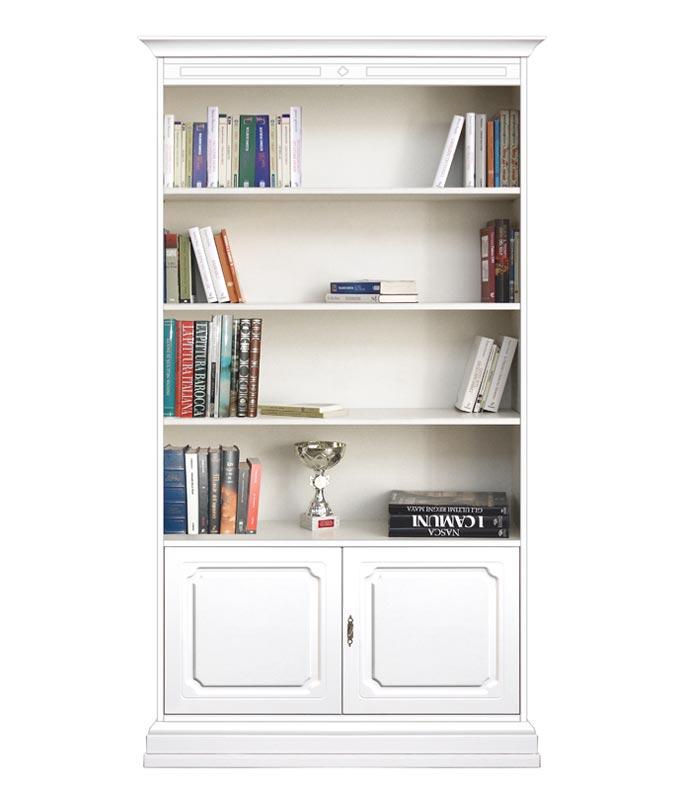 Librería lacada con estantes regulables y 2 puertas