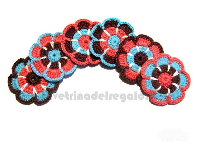 6 pz - Fiore marrone, turchese e corallo ad uncinetto 6 cm - Handmade in Italy