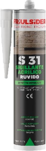 Silicone Sigillante Acrilico Friulsider S31 310ml bianco effetto intonaco