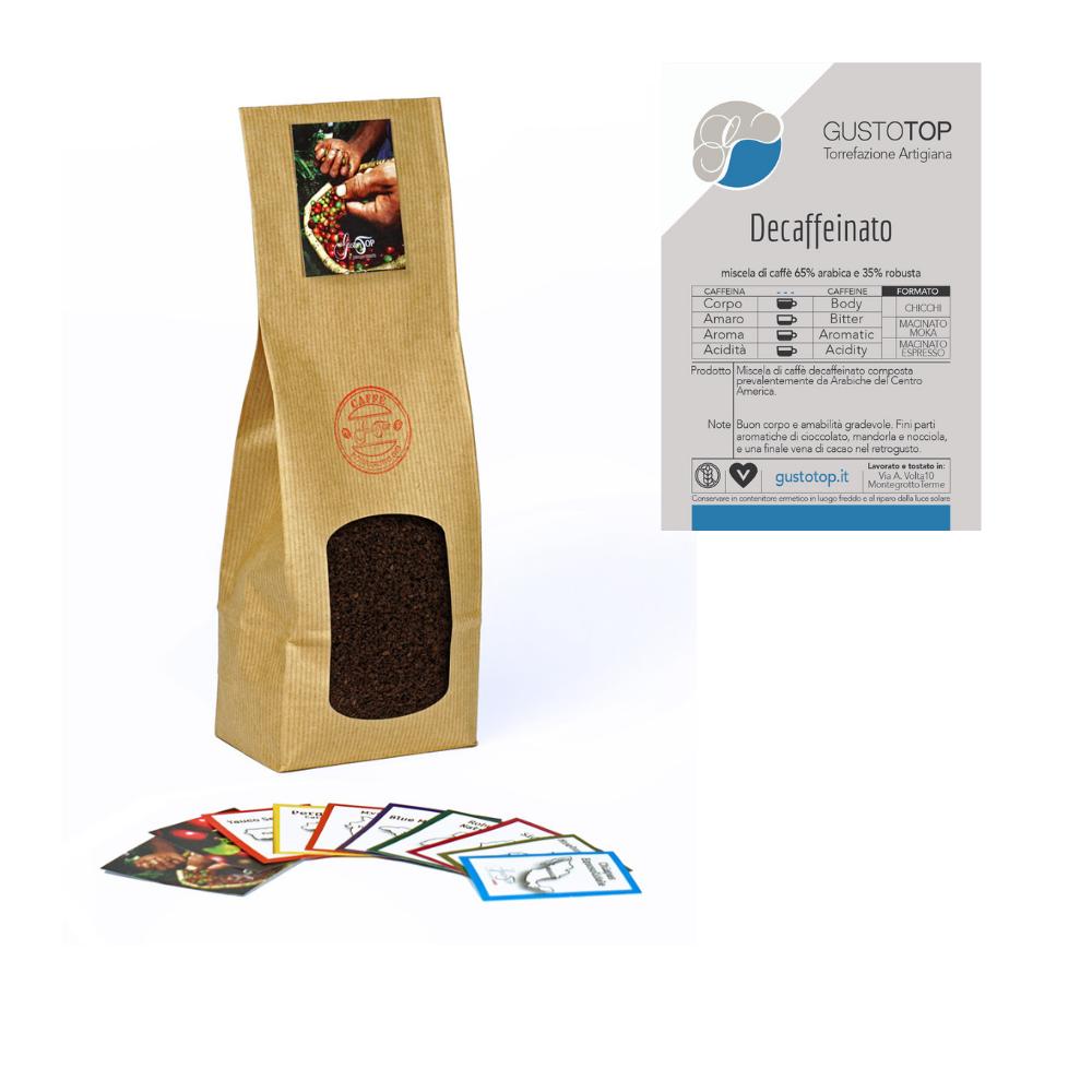 Miscela Caffè Decaffeinato GustoTop per moka ed espresso, confezione da 250 grammi