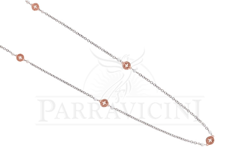 Tuum girocollo settedoni in Argento Rosa e Agata Bianca