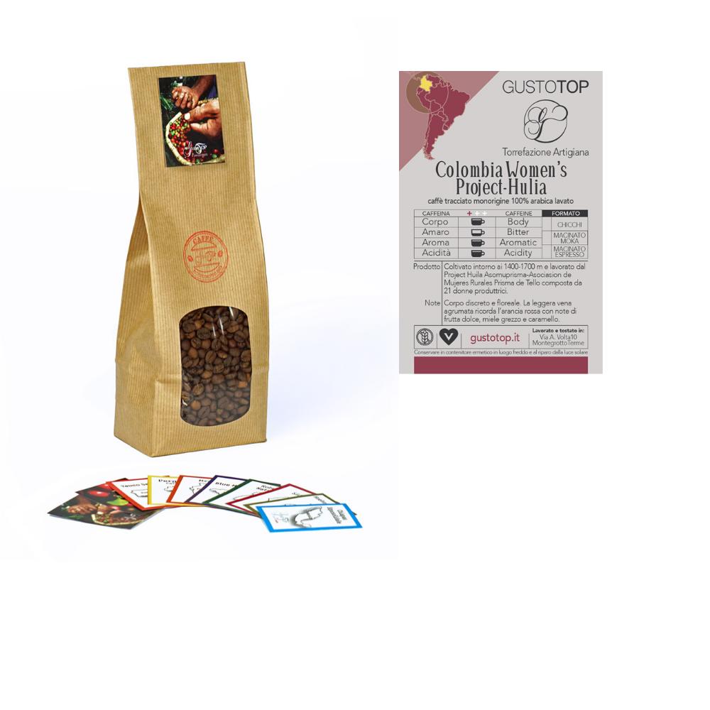 Caffè monorigine in grani Colombia confezioni disponibili: 1kg, 500gr e 250gr