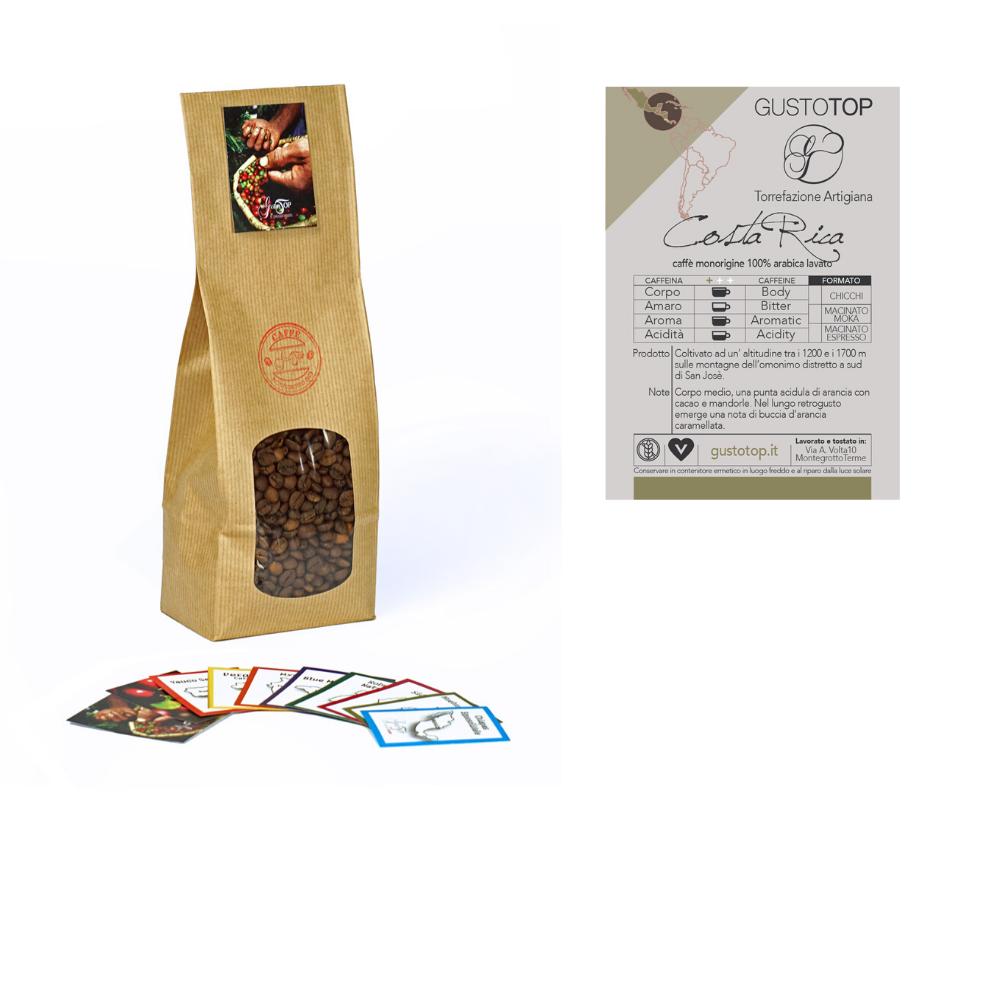 Caffè monorigine in grani Costa Rica confezioni disponibili: 1kg, 500 gr e 250 gr