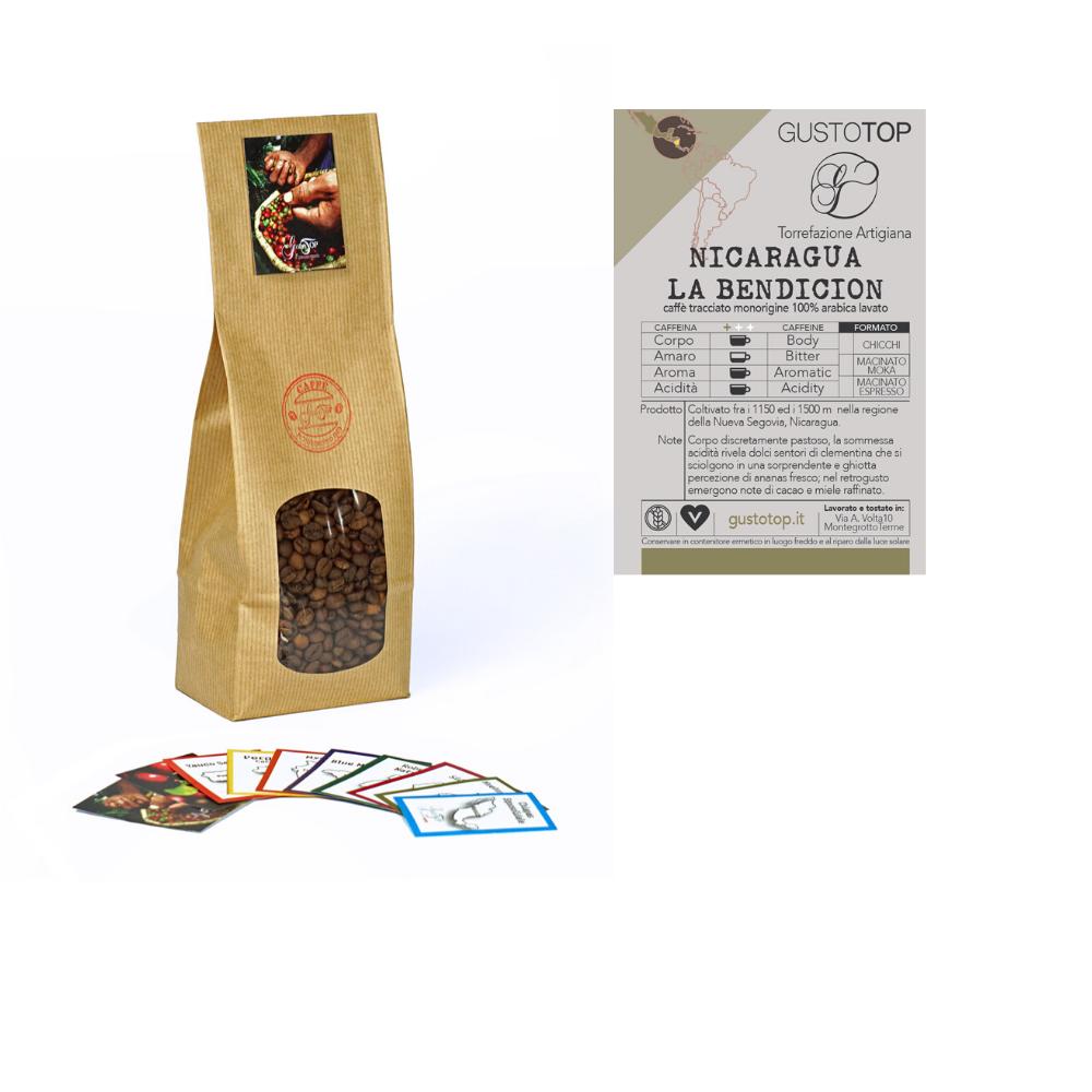 Caffè monorigine in grani Nicaragua-La Bendicion confezioni disponibili: 1kg, 500gr e 250gr