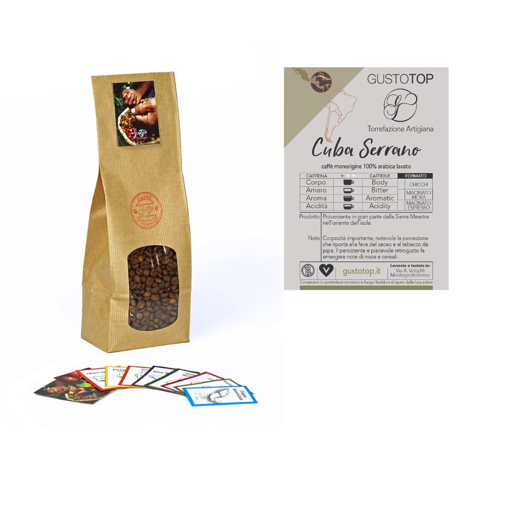 Caffè monorigine in grani Cuba Serrano confezioni disponibili: 1kg, 500 gr e 250 gr