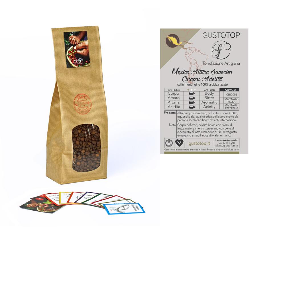 Caffè monorigine in grani Mexico Altura Superior Chiapas Adelita confezioni disponibili: 1kg, 500 gr e 250 gr