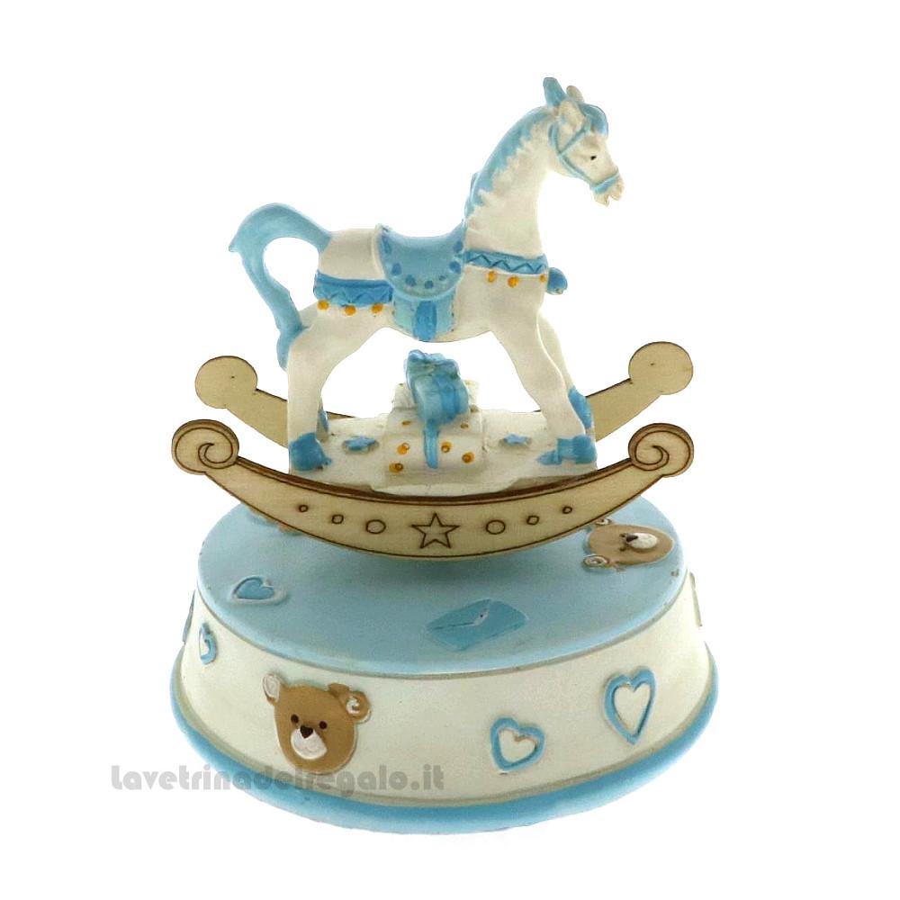Baby Boy Blue Ceramic Rocking Horse Money Bank