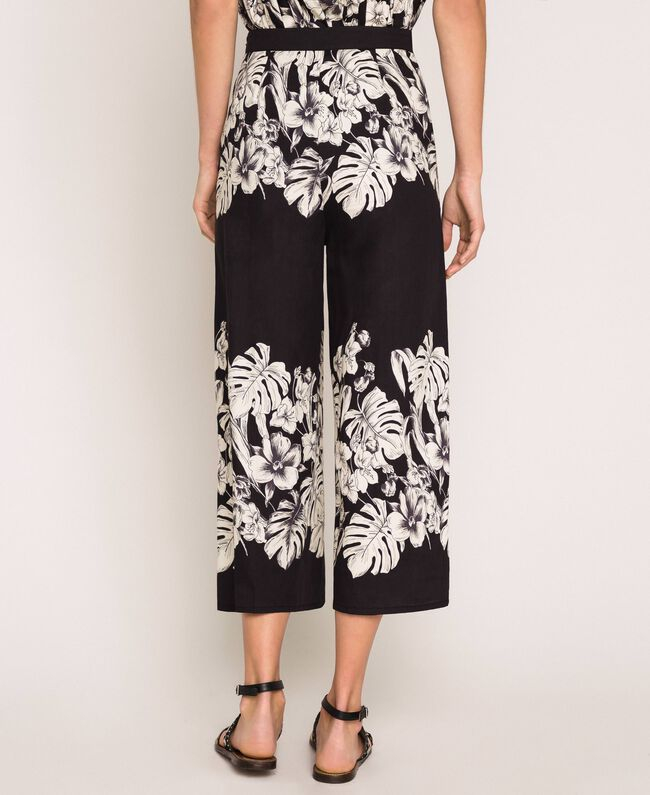 SHOPPING ON LINE TWINSET MILANO PANTALONI CROPPED IN POPELINE A FIORI NEW COLLECTION  WOMEN'S SPRING SUMMER 2020