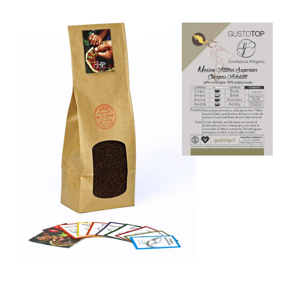 Caffè monorigine Mexico Altura Superior Chiapas Adelita per moka o espresso, confezione da 250 gr