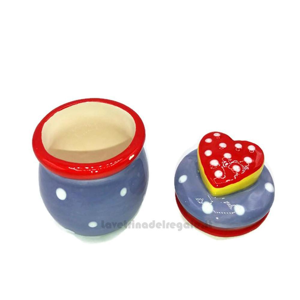 Barattolino blu in ceramica con cuore 5x7 cm - Idea Regalo