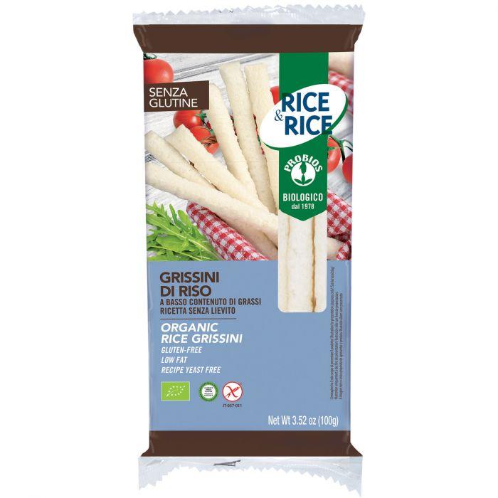 Grissini di riso a basso contenuto di grassi, senza glutine, senza lievito, biologici