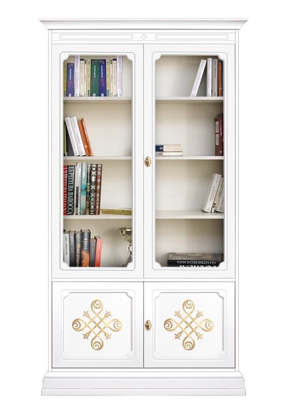 Libreria vetrina con ante in vetro e fregi oro 'Collezione YOU'