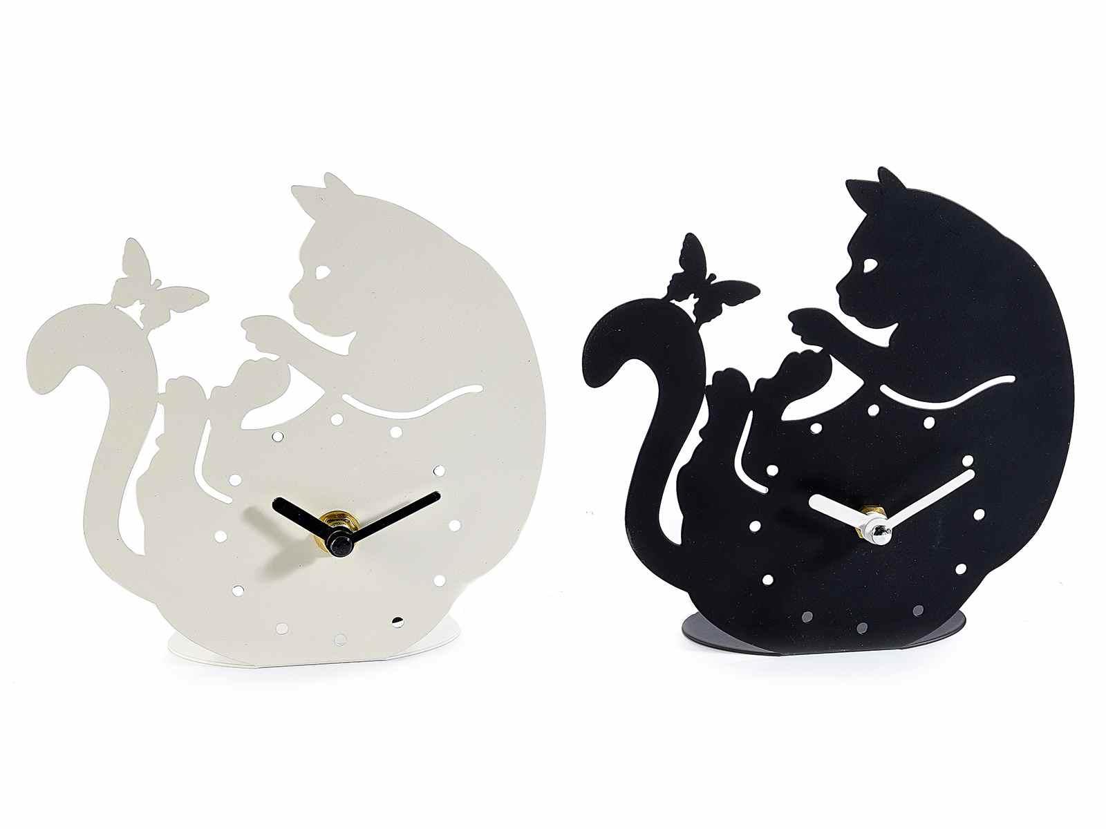 Orologio a gatto da appoggio in metallo opaco (532319)