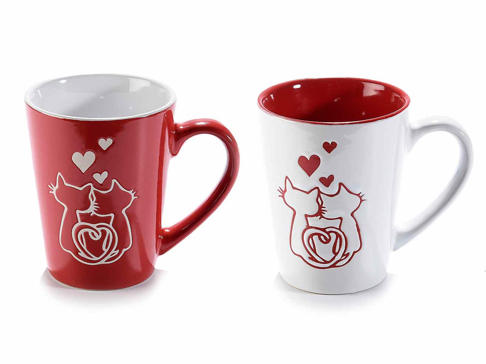 Tazze in ceramica colorata con decoro gatti innamorati (713912)