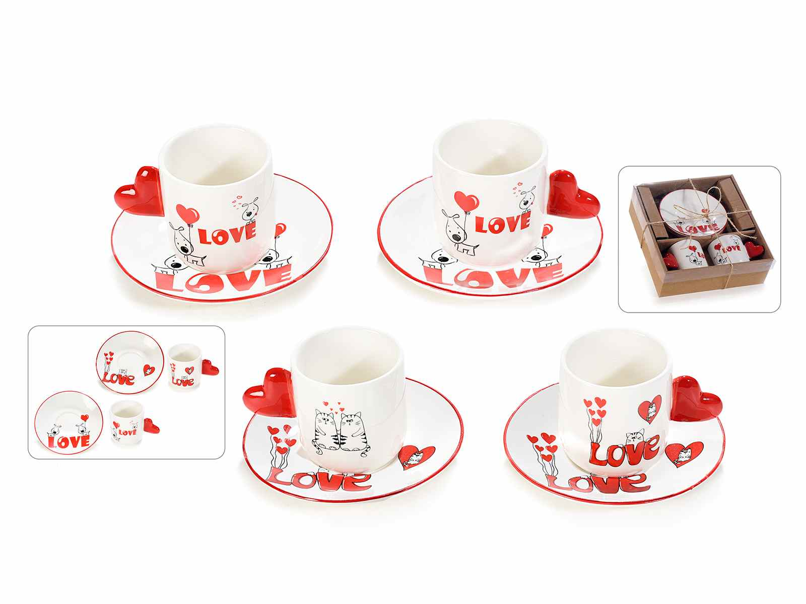 Tazzine da caffé con piattino in porcellana con decori Love  (720591)