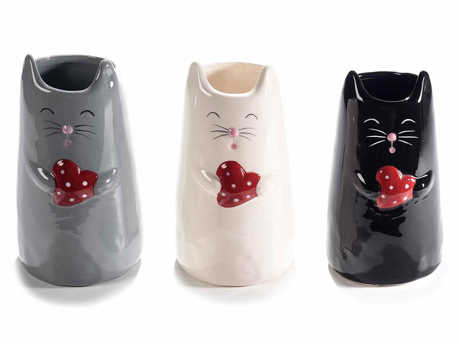 Vaso in ceramica a gatto con cuore in mano (713896)