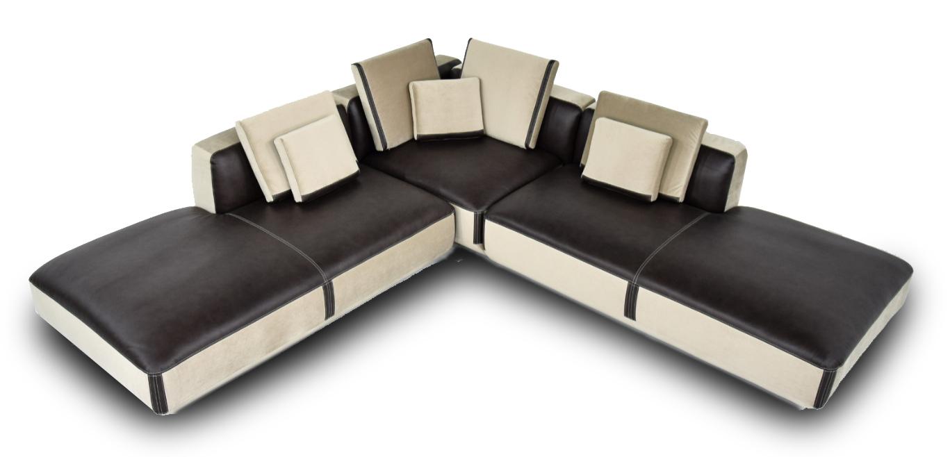 CERRO - Divano angolare modulare 7 posti bicolore in pelle color testa di moro e tessuto microfibra antimacchia e antigraffio seduta bassa e piedi non a vista  - design moderno