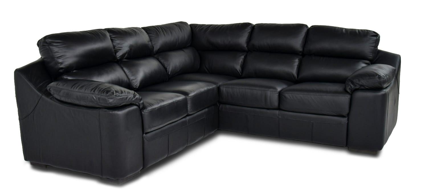 TAMIKA - Divano angolare nero in pelle 5 posti 250x250 cm
