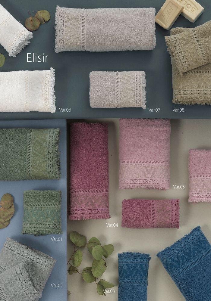 Set Asciugamani da Bagno in 100% Puro Cotone Naturale, Coppia Spugne Viso 60x105 cm + Ospite 60x40 cm, Decorazione Pizzo | ELISIR