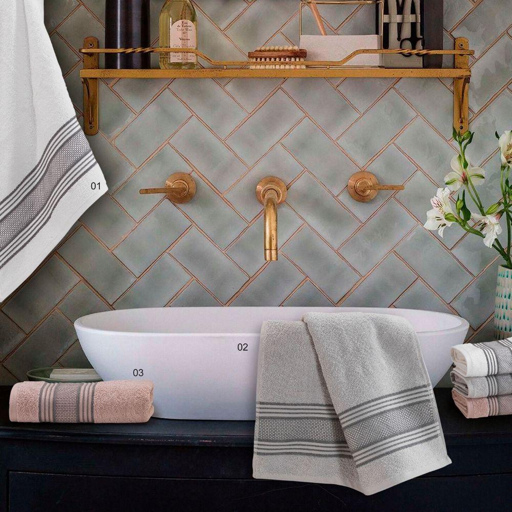 Set Asciugamani da Bagno in 100% Puro Cotone Naturale, Coppia Spugne Viso 60x105 cm + Ospite 60x40 cm, Decorazione Balza Jacquard | FRIDA