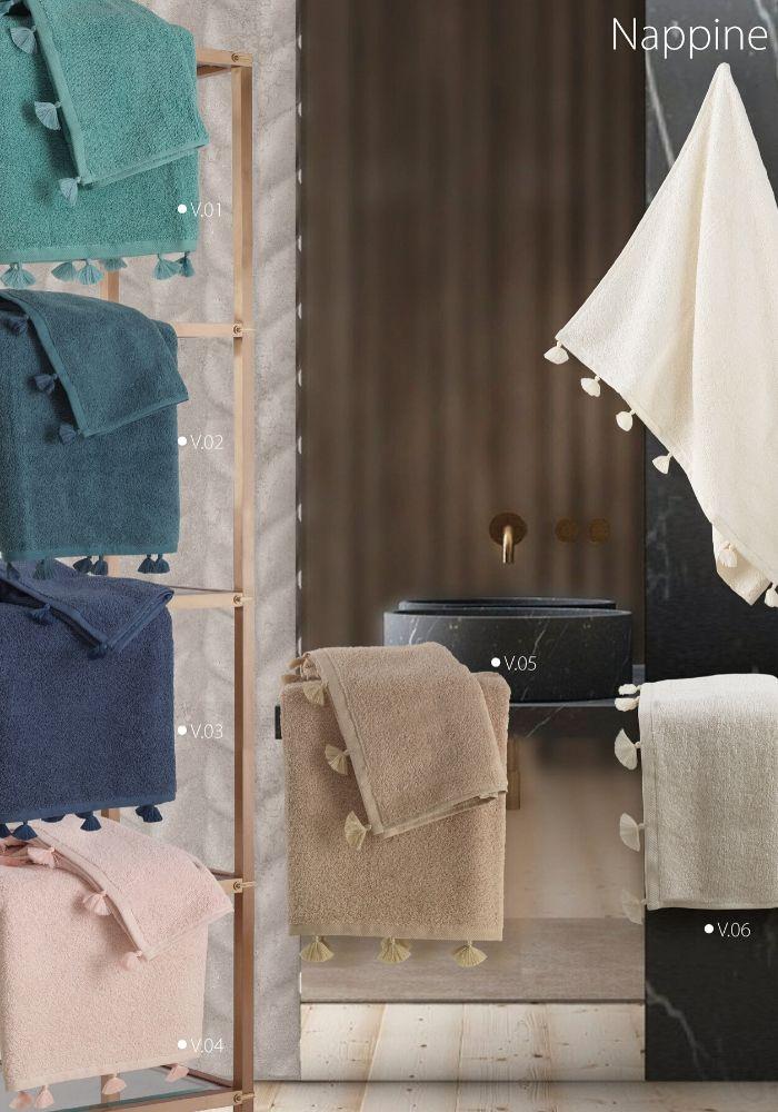 Set Asciugamani da Bagno in 100% Puro Cotone Naturale, Coppia Spugne Viso 60x105 cm + Ospite 60x40 cm, Decorazione Raffinata | NAPPINE