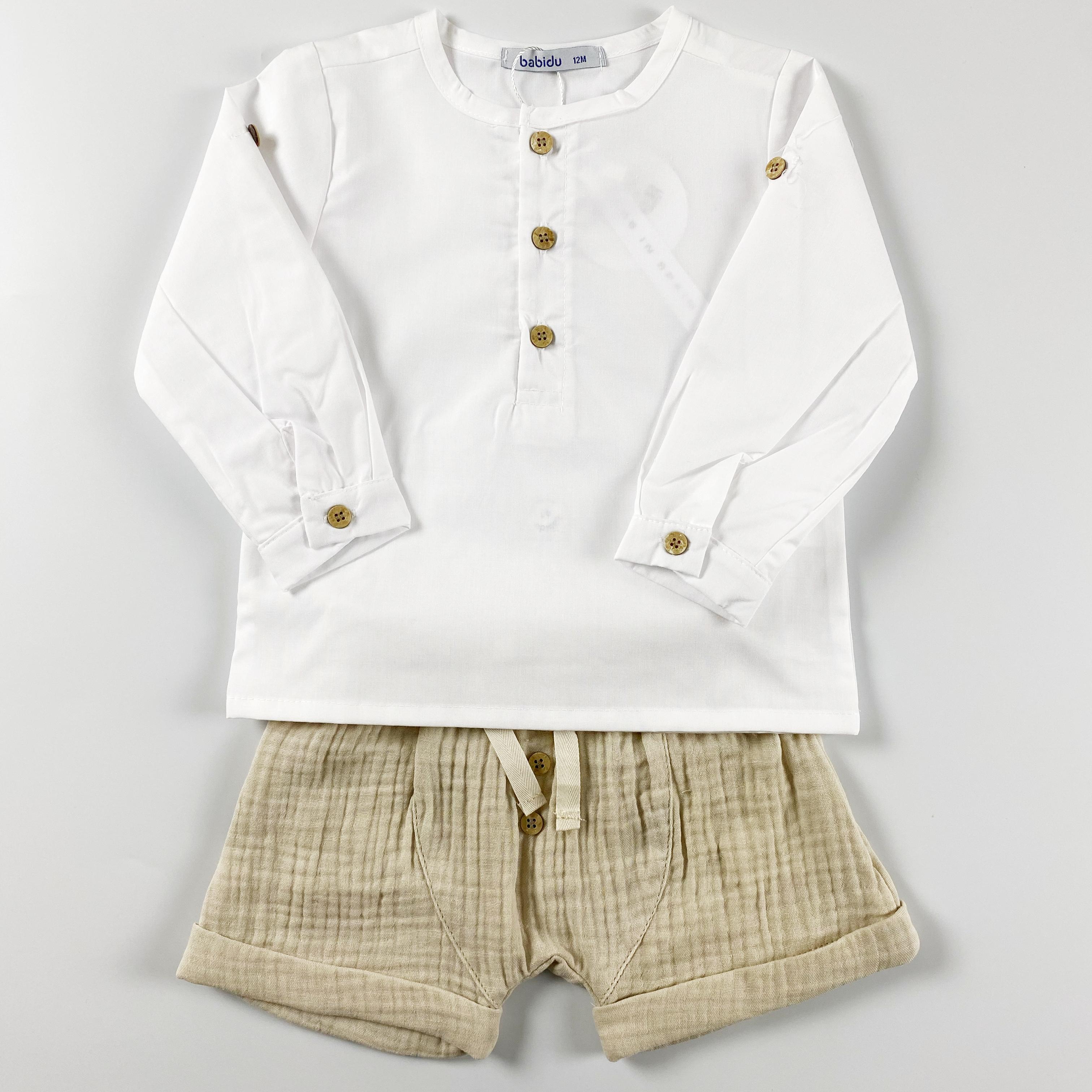 Completo pantaloncino in mussola e camicia serafine