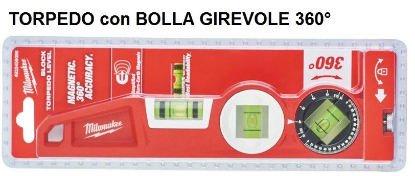 LIVELLA TORPEDO CON BOLLA GIREVOLE 25CM