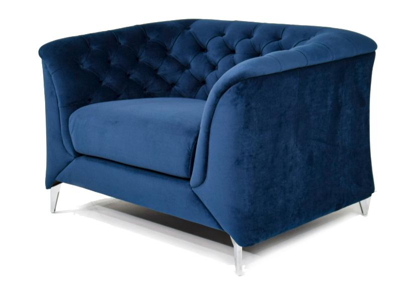 NERISSA Poltrona Chesterfield moderna in tessuto microfibra effetto velluto di colore blu e piedi in metallo cromato