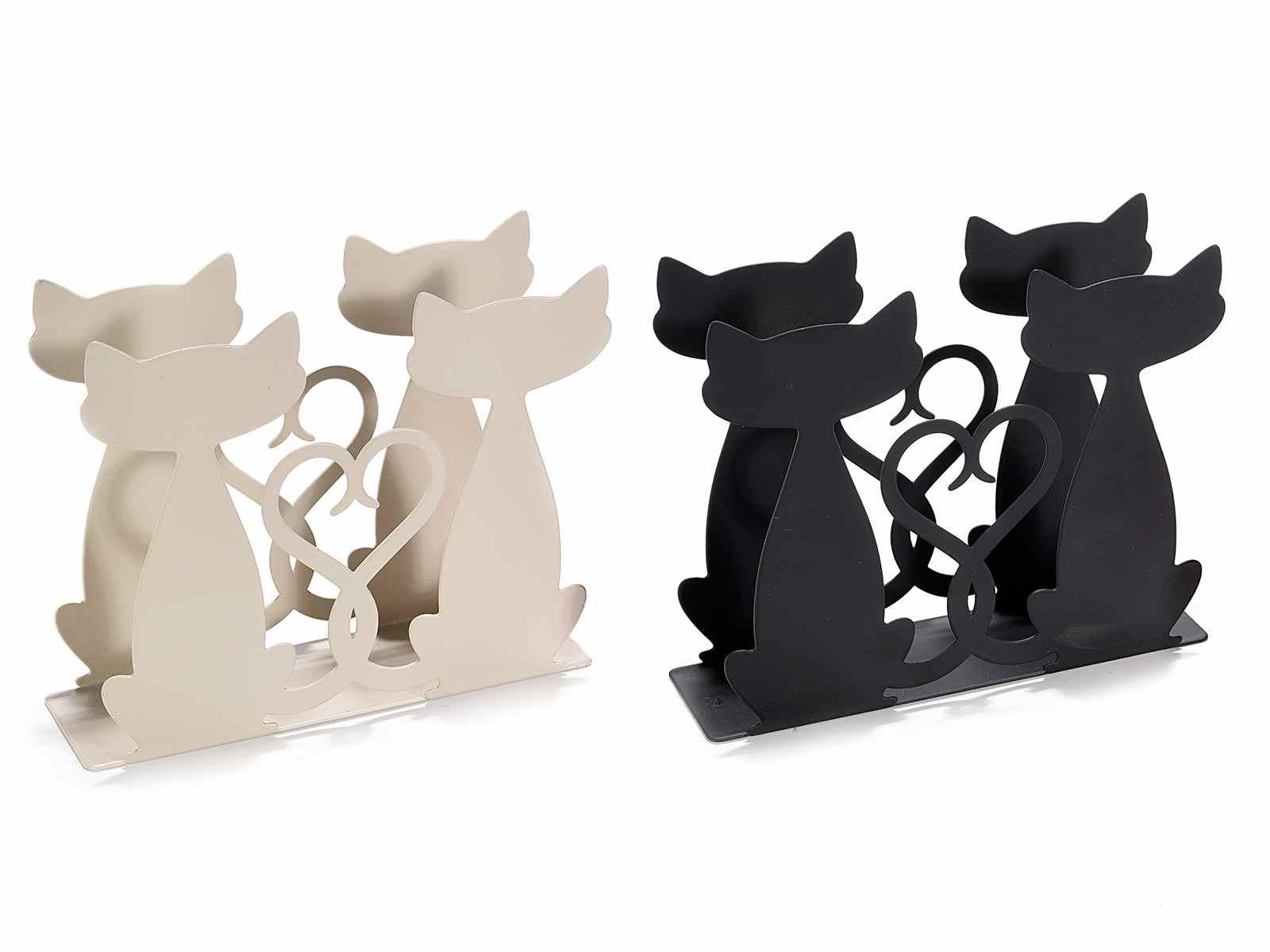 Portatovaglioli in metallo opaco con due gattini (520373)