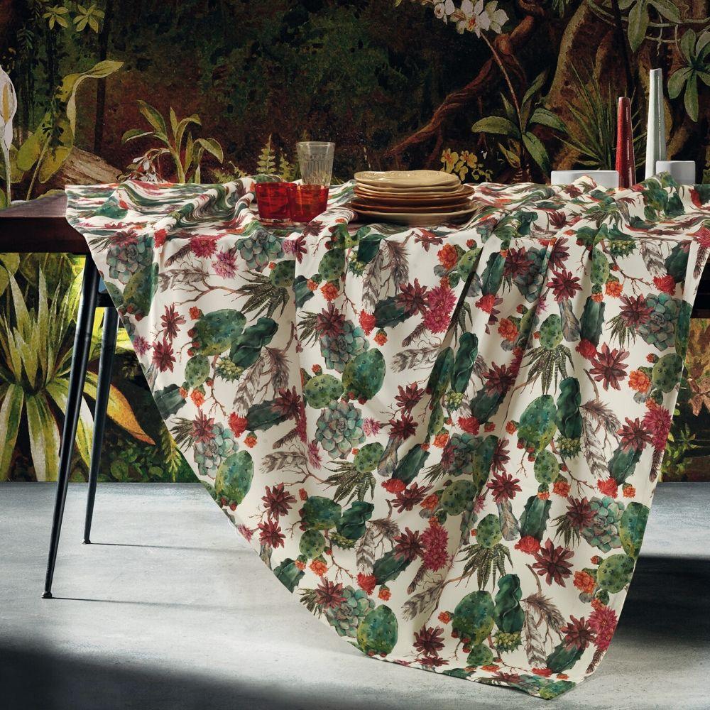 Tovaglia Da Tavola Moderna tovaglia antimacchia impermeabile in cotone 100% naturale, design piante  grasse, decorazione della tavola da pranzo | cactus