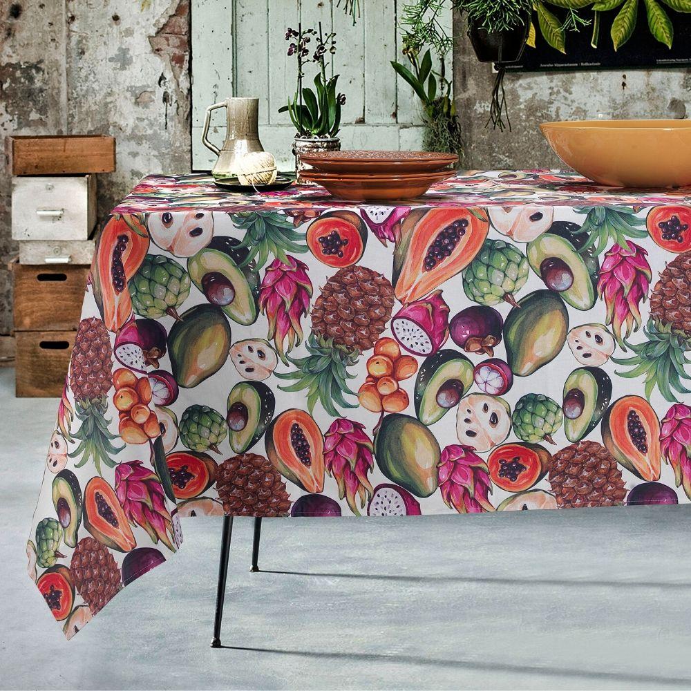 Tovaglia Da Tavola Moderna tovaglia antimacchia impermeabile in cotone 100% naturale, design frutta  esotica, decorazione della tavola da pranzo | tropical