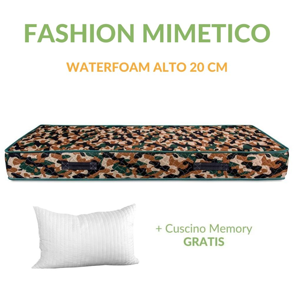 Materasso in Poliuretano Alto 20 cm con Cuscini Memory Foam Ortopedico, Rivestimento Effetto MASSAGGIANTE, Tessuto Antiacaro | FASHION MIMETICO