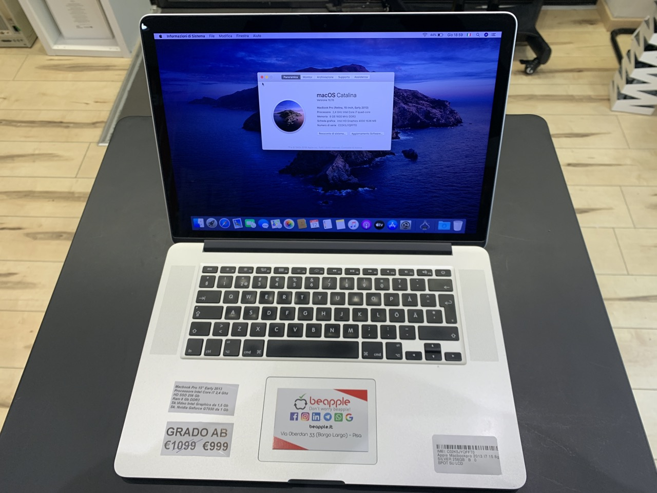 Apple MacBook Pro 15.4″ Retina intel® Dual-Core i7 2.4GHz Early 2013 (Ricondizionato)
