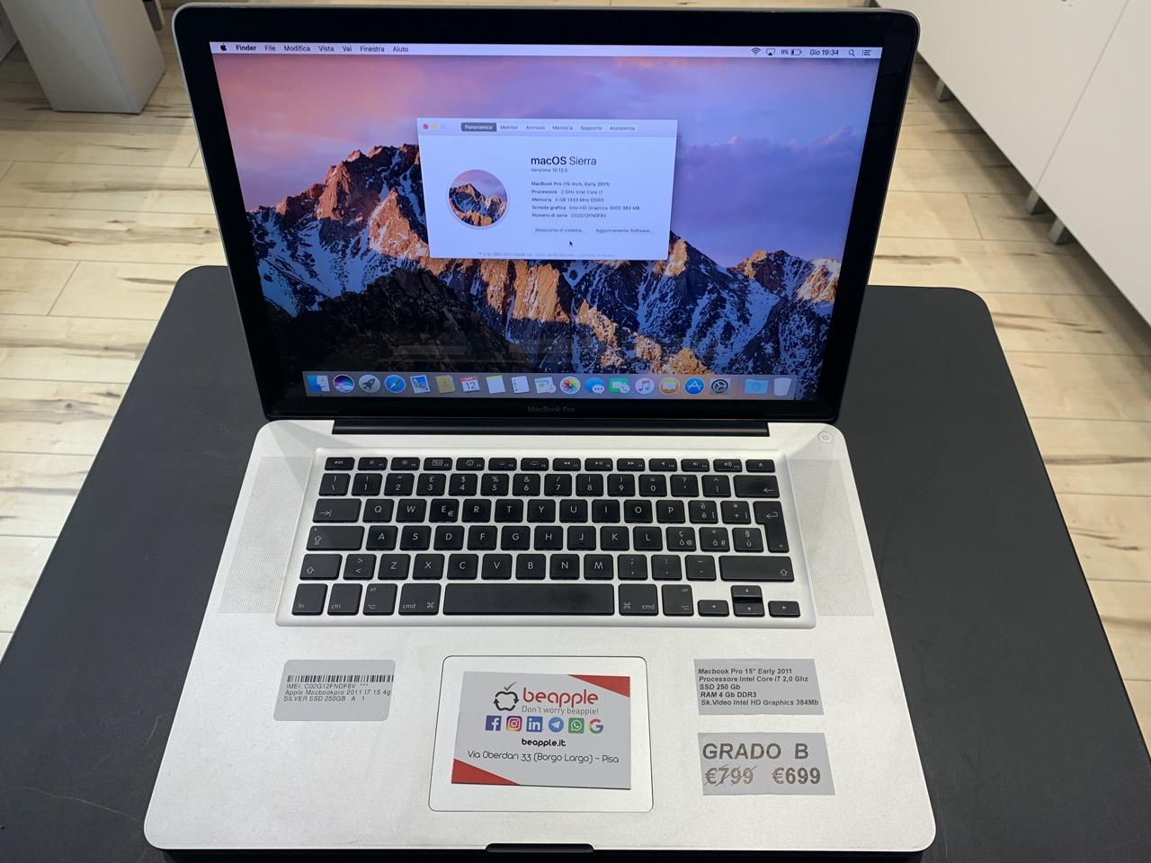 Apple MacBook Pro 15.4″ intel® Quad-Core i7 2.0GHz Early 2011 (Ricondizionato)