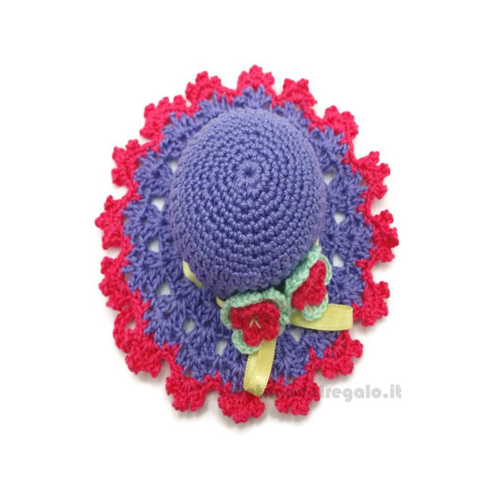Cappellino puntaspilli lilla e fucsia ad uncinetto 11 cm - Handmade in Italy