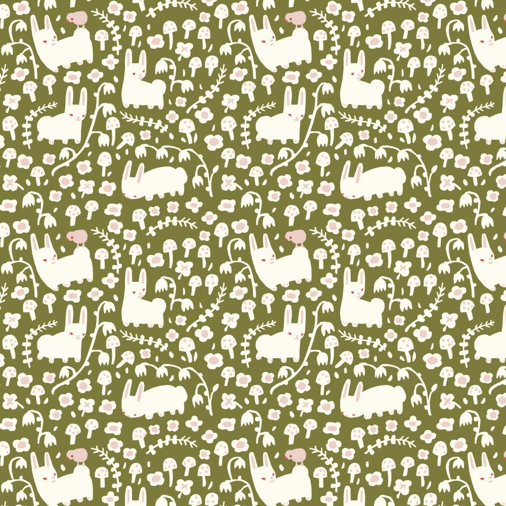 Organic fabric bunny meadow moss interlock knit
